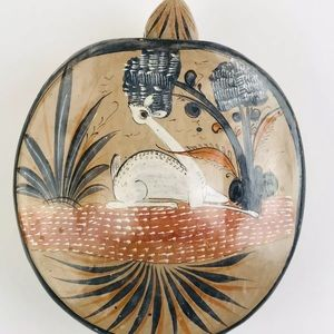 Turtle & Deer Burnished Tonala Folk Mexico Pottery